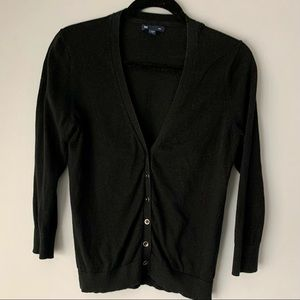 Black GAP 3/4 Sleeve Cardigan Sweater
